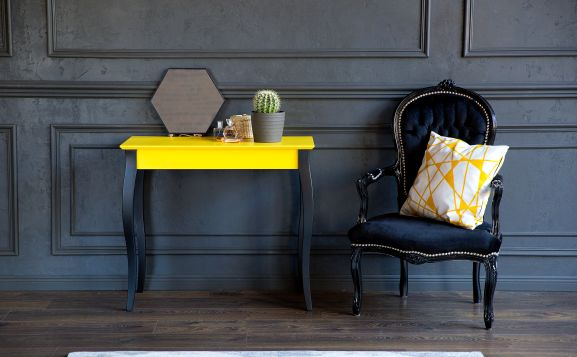 Konsola LILLO - żółta z czarnymi nogami