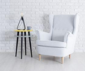 Wysoki Stolik Kawowy UFO - żółty z czarnymi nogami - biały fotel