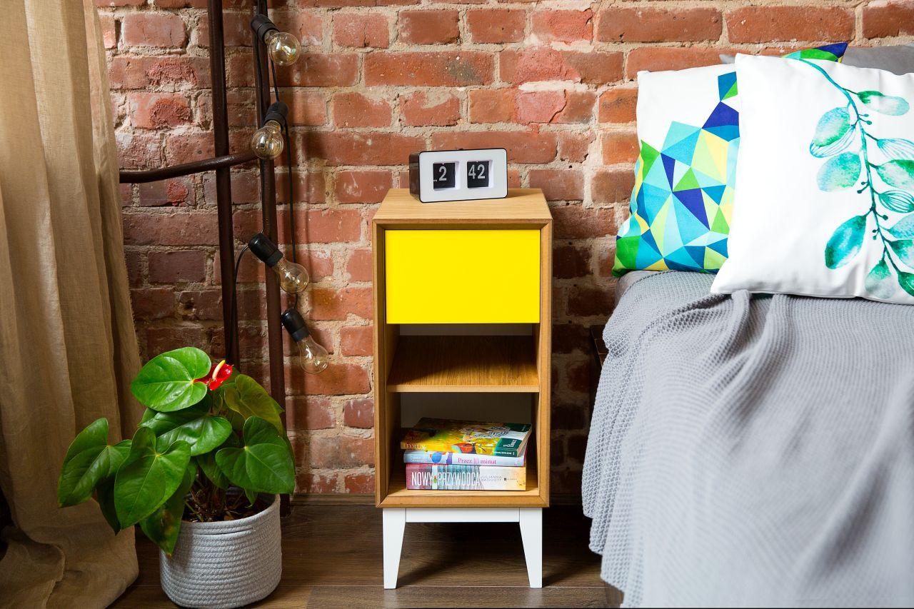 Szafka Nocna PIX 40 - drewniany/front żółty