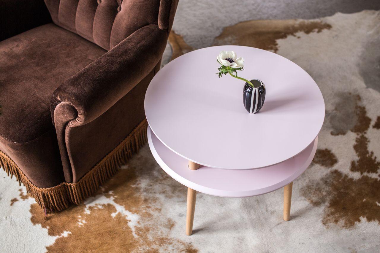 Stolik kawowy UFO średni - różowy