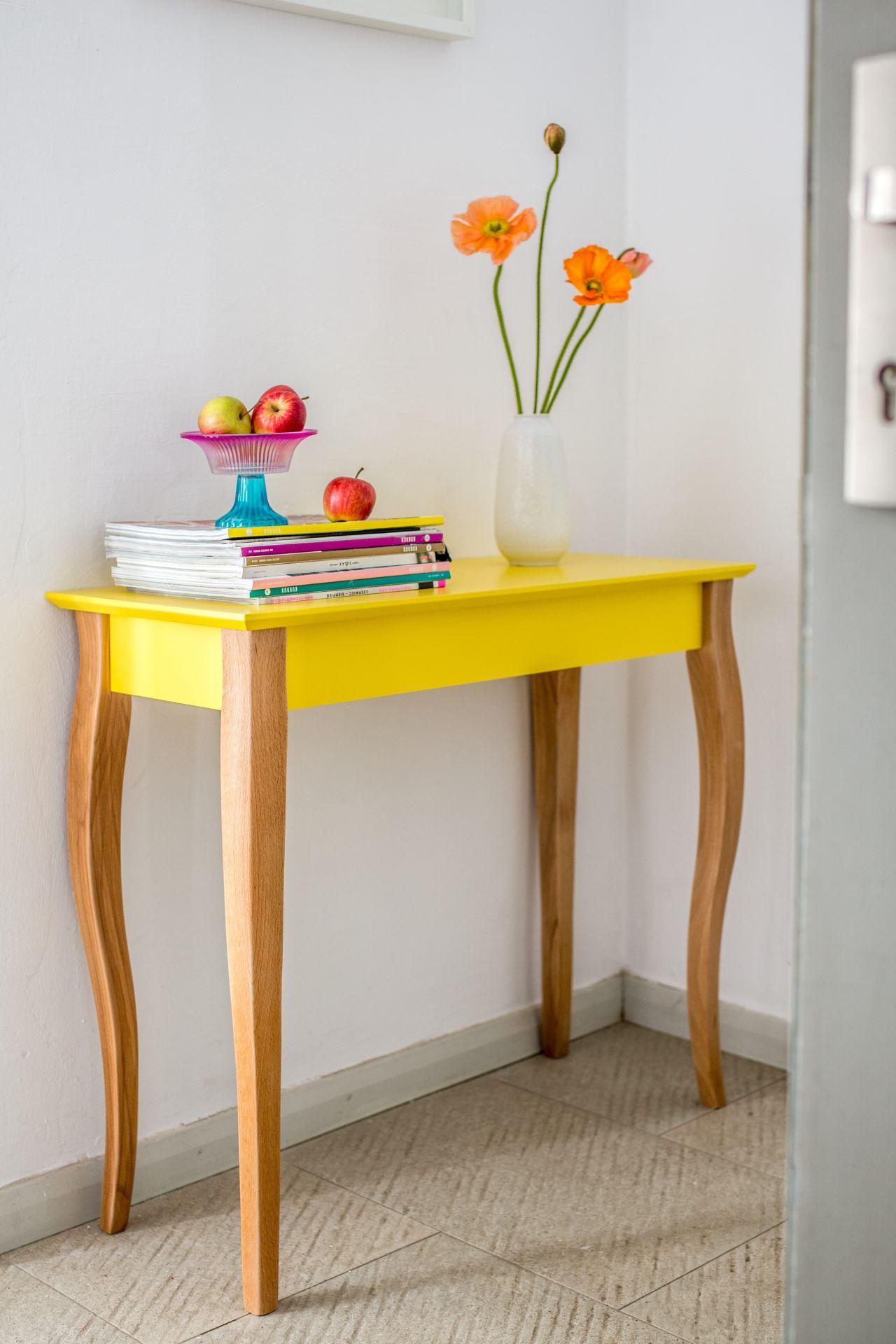 Drewniana Konsola LILLO średnia - żółta